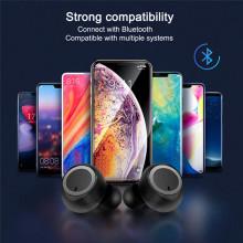 Casti bluetooth TWS-02 Wireless, Microfon, BT 5.0, Control Touch, Dock, Android iOS Windows, Negru,CASTI-TWS02