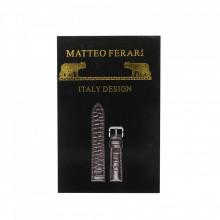 Curea de ceas Mateo Ferari, neagra, 14x12mm, Piele ecologica embosata croco, telescop 4 buc