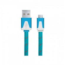Android Micro USB - cablu date incarcator Plat 1m Albastru