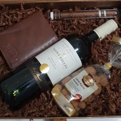 Cutie cadou Vin/Portofel/Trabuc/Migdale