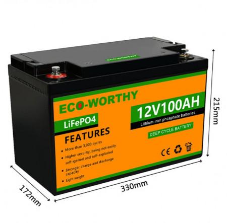 Acumulator Li-ion 12V 100 Ah LiFePO04 baterie solara