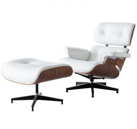 Fotoliu Eames Lounge cu Otoman piele alba lemn nuc