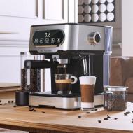 Espressor automat 20 bar, 1100W, spumare profesională a laptelui