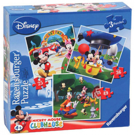 PUZZLE CLUBUL MICKEY MOUSE, 3 BUC IN CUTIE, 25/36/49 PIESE
