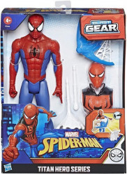 Figurina Spiderman cu lansator, masca si armura, 30cm