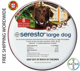 Imagens Flea and Tick Protection Bayer Seresto Collar for Large Dogs Above 18lbs (8kg) - 8 Months Protection - FREE SHIPPING WORLDWIDE