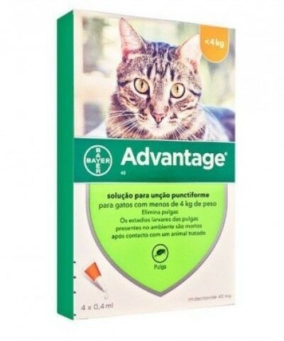 Pack 4 Bayer Advantage 40 Cat less 4kg - free shipping