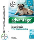 Pack 4 Bayer Advantage 100 Dog 4 - 10kg - free shipping