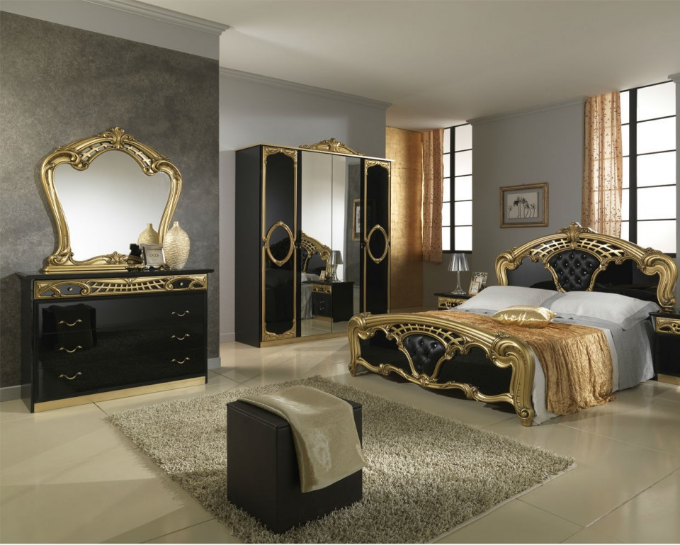 Coln101 - Colectie Set Dormitor Negru Lucios Si Auriu 6 Piese - Lux