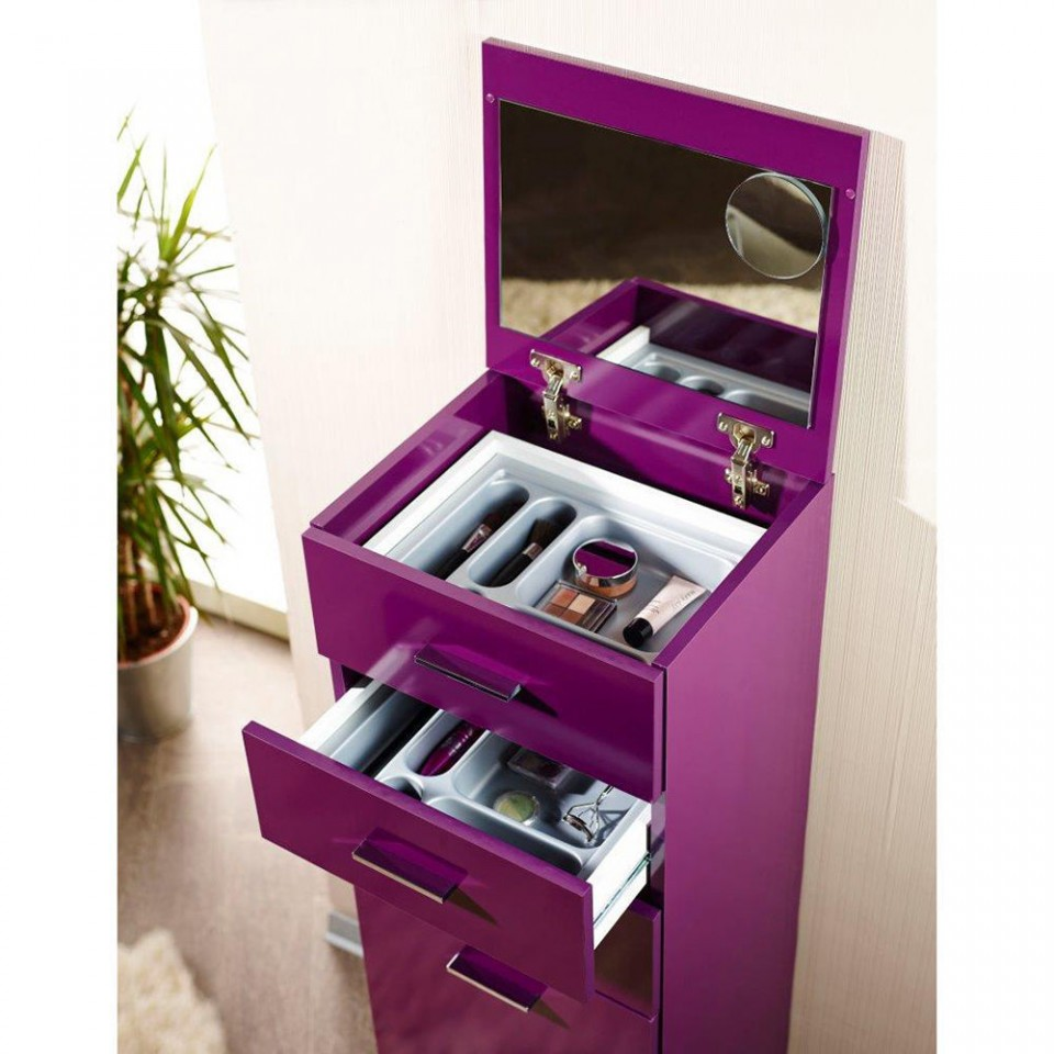 COMO201 - Comoda, dulap cu sertare Make Up, machiaj, cosmetice - Mov/Violet