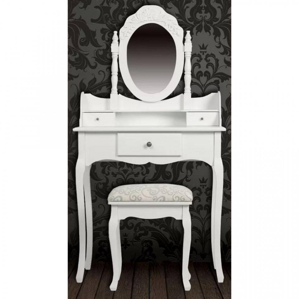 Foto Set Masa Toaleta Cosmetica Machiaj Oglinda Masuta Vanity Scaun Tapitat Alba Plus