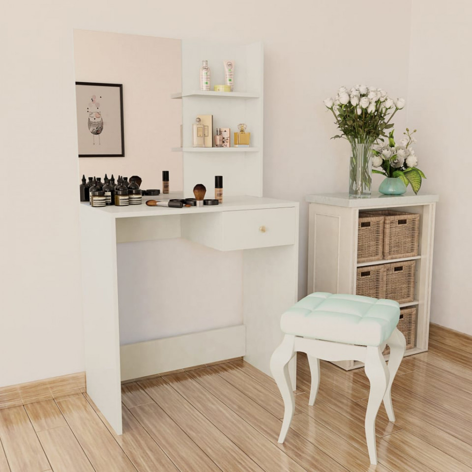 Set Masa Toaleta Cosmetica Machiaj Oglinda Masuta Vanity Alb