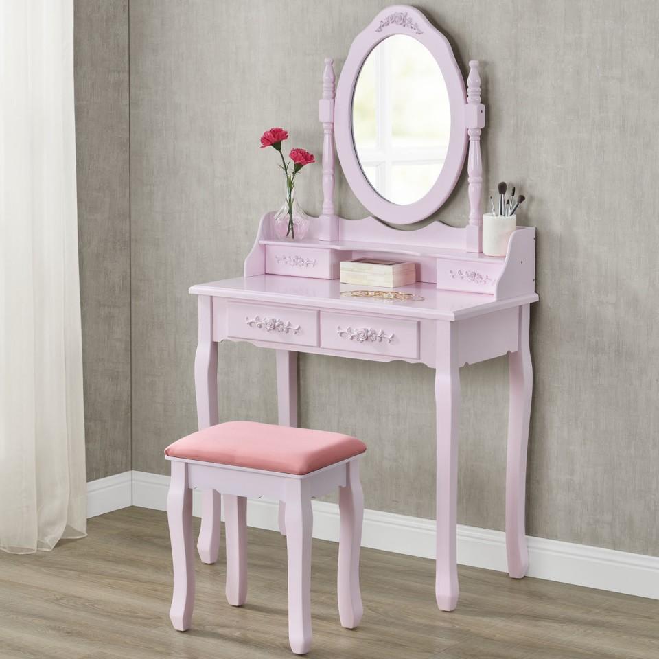 Set Masa Roz Toaleta Cosmetica Machiaj Oglinda Masuta Vanity