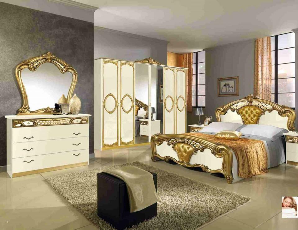 Colc102 - Colectie Set Dormitor Crem Lucios Si Auriu 6 Piese - Lux