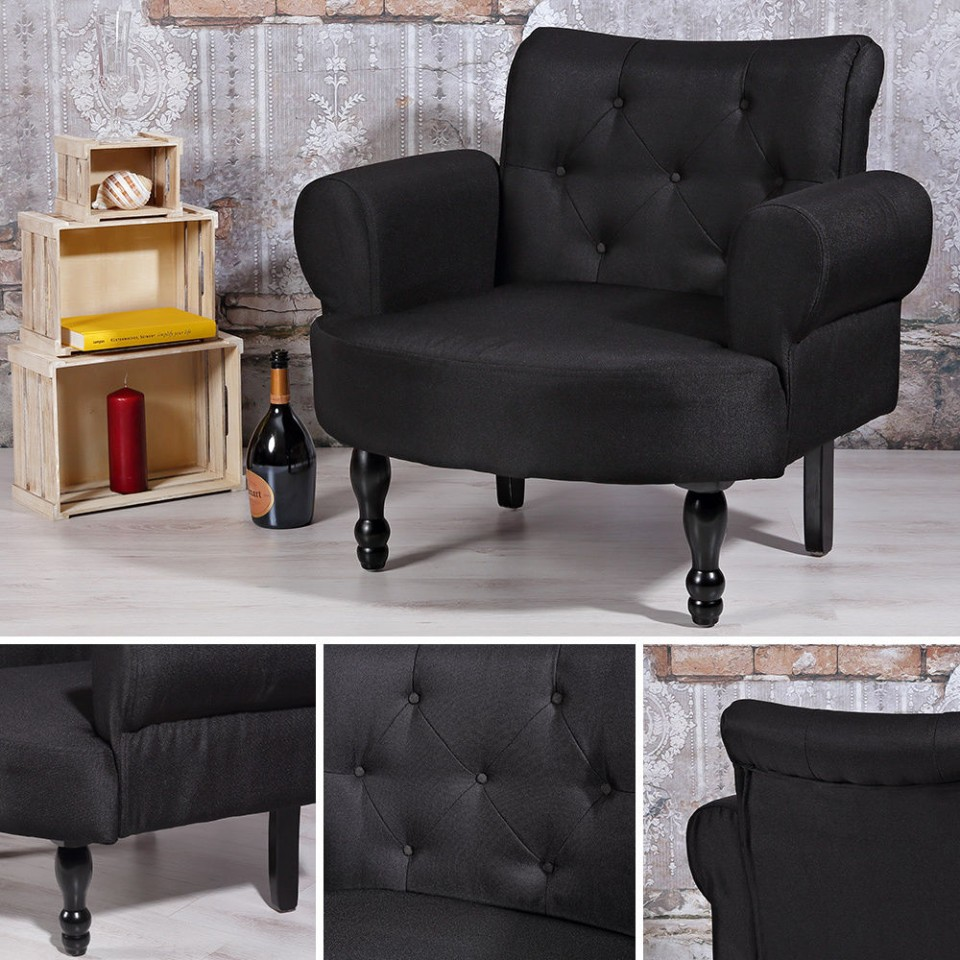 Scn5 scaun masuta toaleta machiaj cosmetica tapitat negru for Divan livrare