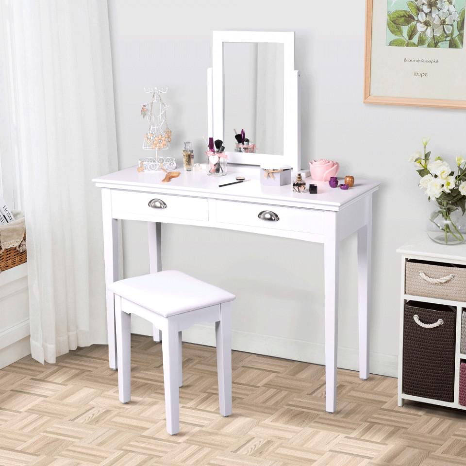 Set Masa Toaleta Consola Cosmetica Machiaj Masuta Vanity Make Up Oglinda Scaun Tapitat Alb