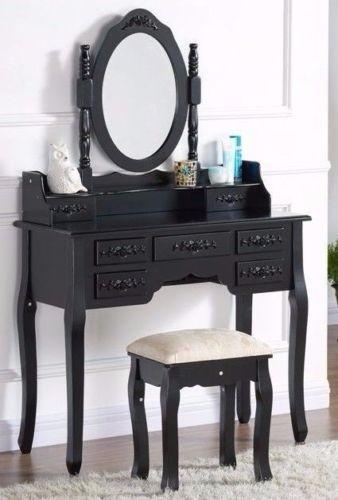 Set Masa Neagra Toaleta Cu 7 Sertare Cosmetica Mac