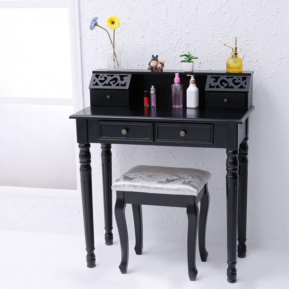 Foto Masuta Neagra Scaun Cosmetica Masa Machiaj Plus