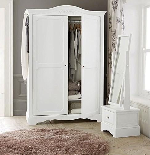dua204 dulap sifonier dublu cu bara umerase rafturi dormitor alb. Black Bedroom Furniture Sets. Home Design Ideas