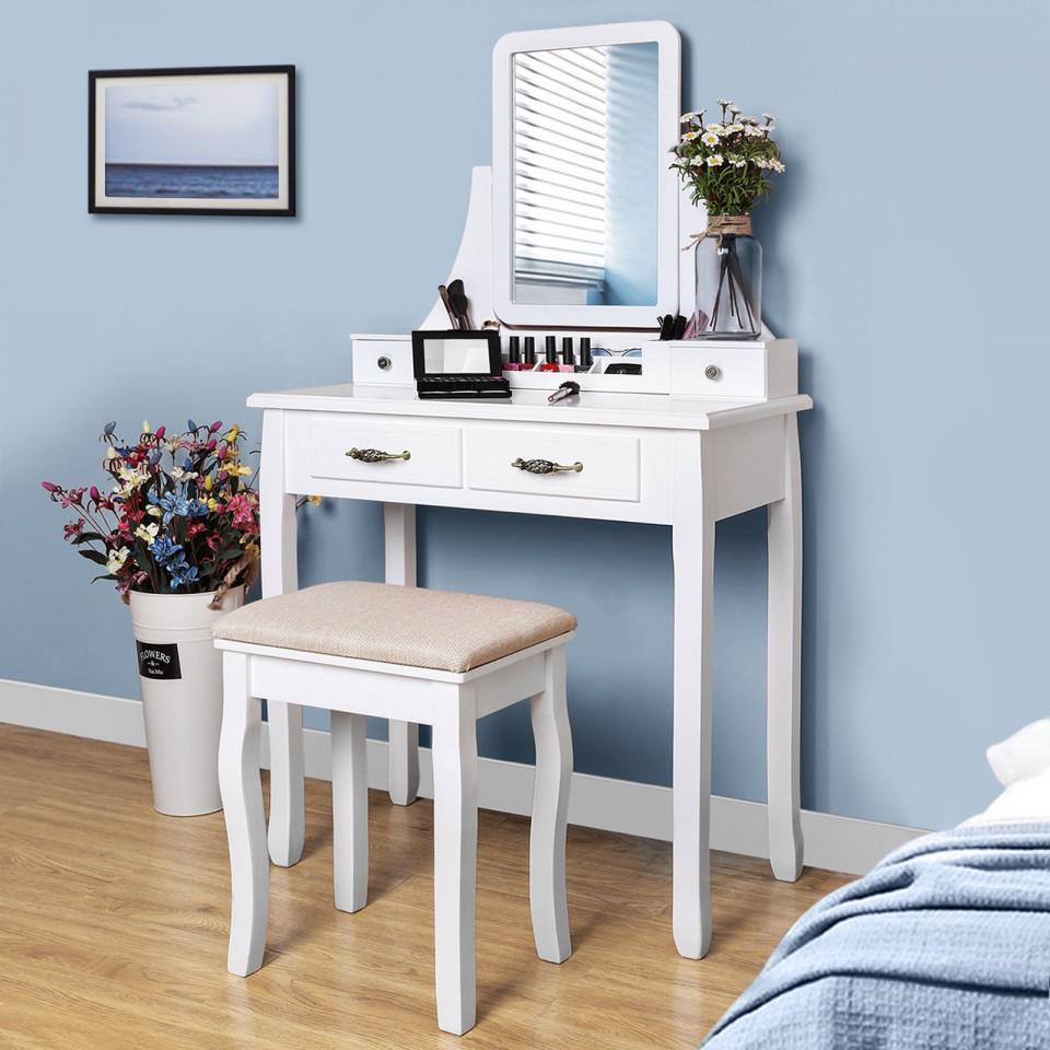 SEA235 - Set Masa alba toaleta cosmetica machiaj oglinda masuta makeup scaun scaunel taburet tapitat