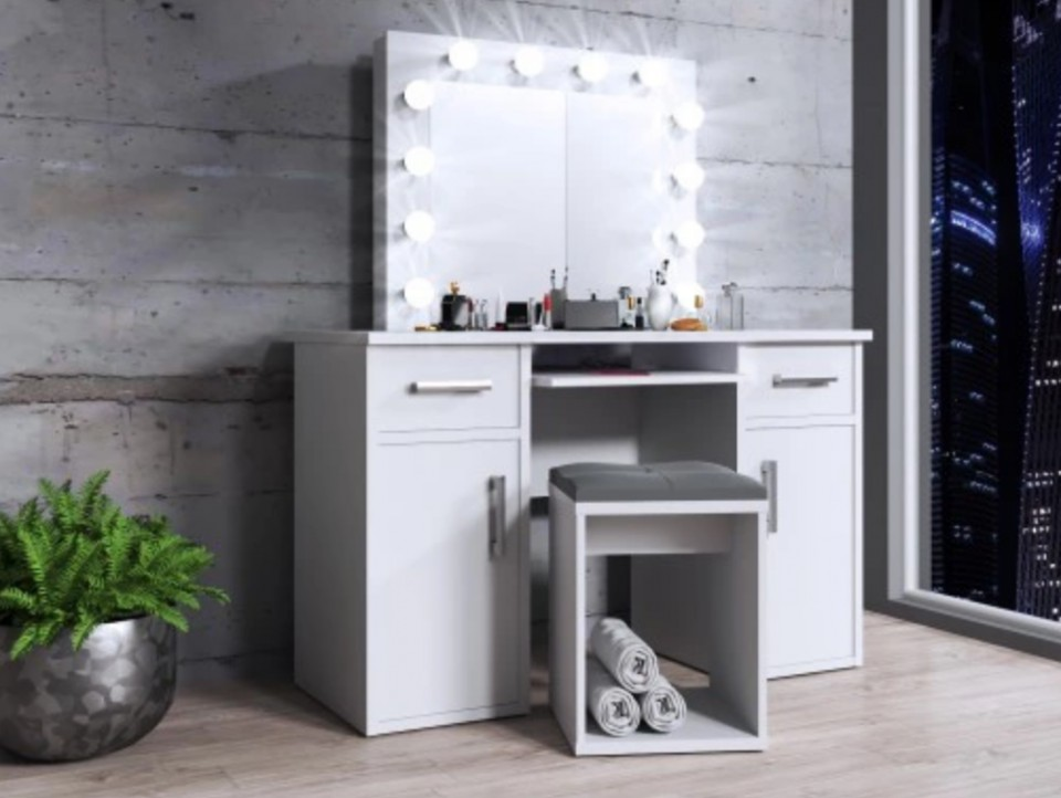 Set Masa Toaleta Cosmetica Machiaj Oglinda Masuta Vanity