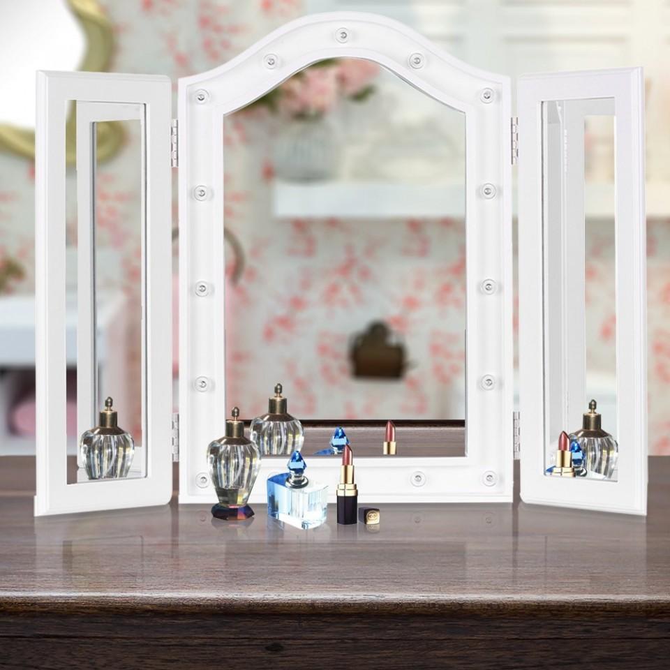 Oglinda Tripla Masuta Toaleta Leduri Dormitor Alb
