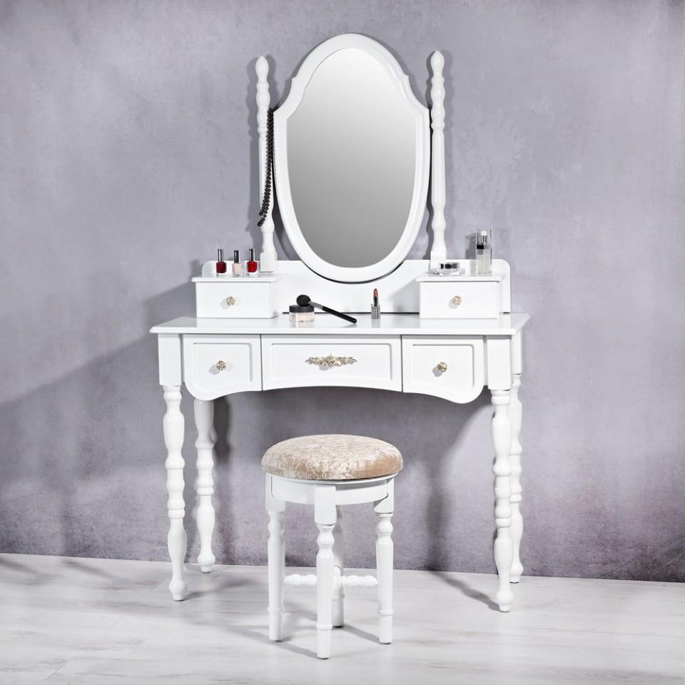 Foto Set Masa Alba Toaleta Cosmetica Machiaj Oglinda Masuta