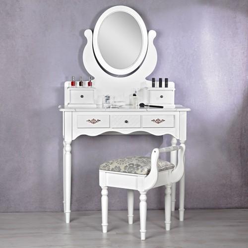 Ilustratie Masa Alba Toaleta Cosmetica Machiaj Oglinda Masuta Mese Toaleta
