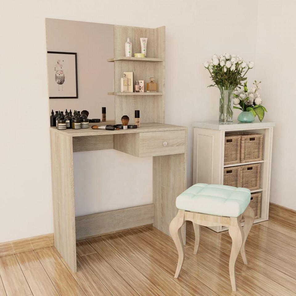 Set Masa Toaleta Cosmetica Machiaj Oglinda Masuta Vanity Sonoma