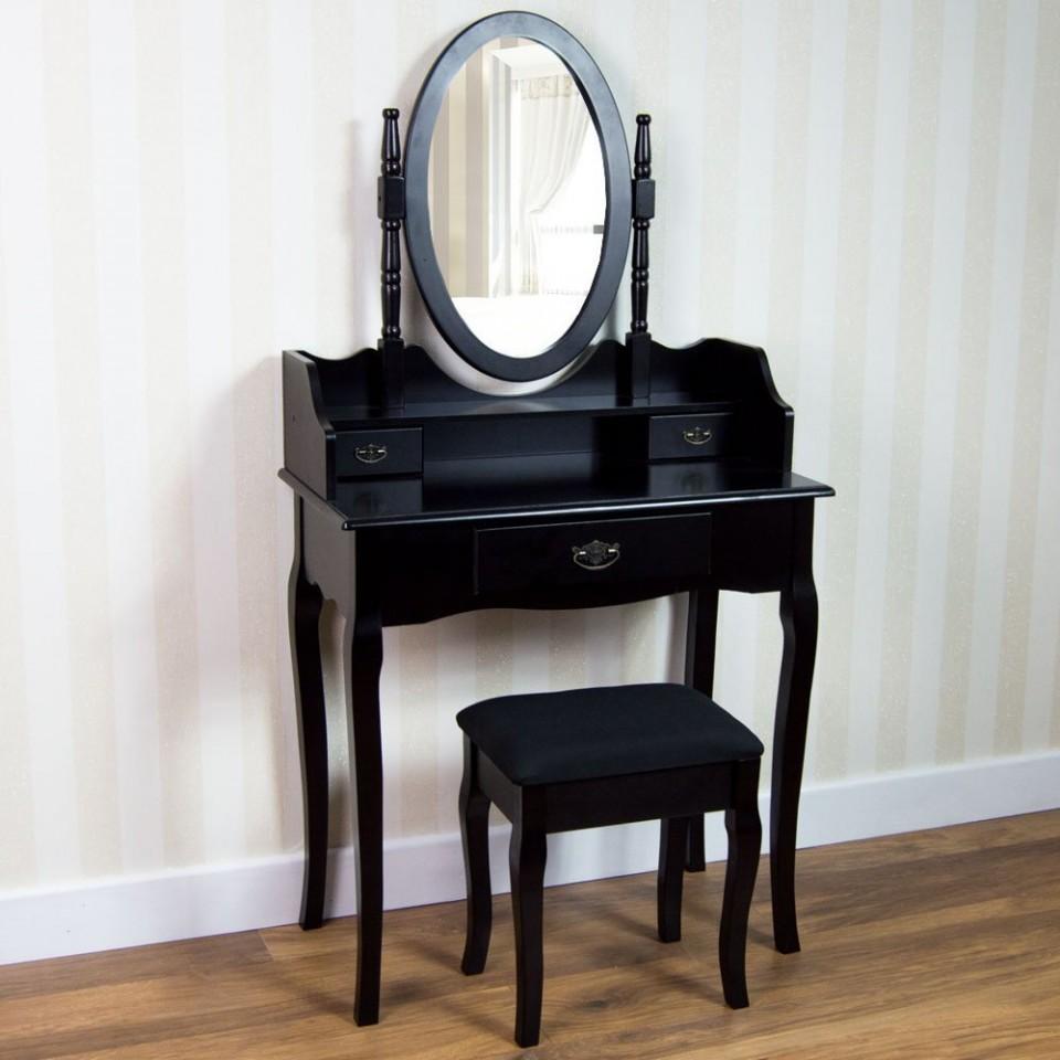 Foto Masa Machiaj Cosmetica Neagra Oglinda Scaun Plus