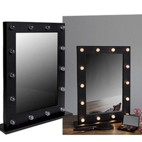 Oglinda Masuta De Toaleta Cu Leduri Dormitor Neagra