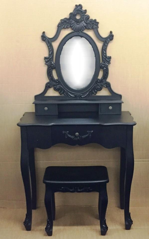 SEN110 – Set Masa Neagra toaleta cosmetica machiaj oglinda masuta de la eMobili
