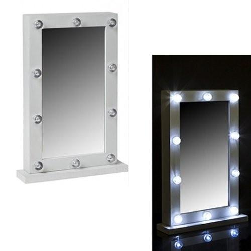 Oglinda Masuta De Toaleta Cu Leduri Dormitor Alba