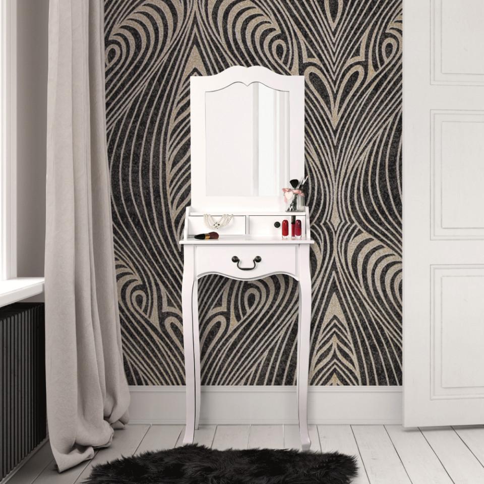 Set Masa Toaleta Consola Cosmetica Machiaj Masuta Vanity Make Up Oglinda Alb