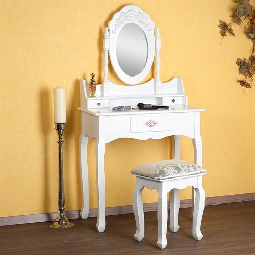 Masa Alba Toaleta Cosmetica Machiaj Oglinda Masuta Mese Toaleta Ilustratie
