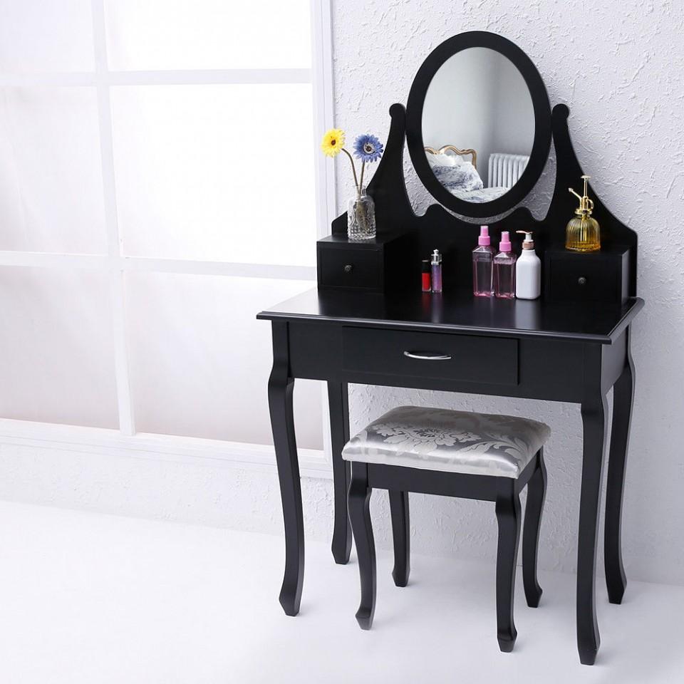 Masa Neagra Toaleta Cosmetica Machiaj Oglinda Masuta Scaun Taburet Tapitat Mese Toaleta Ilustratie