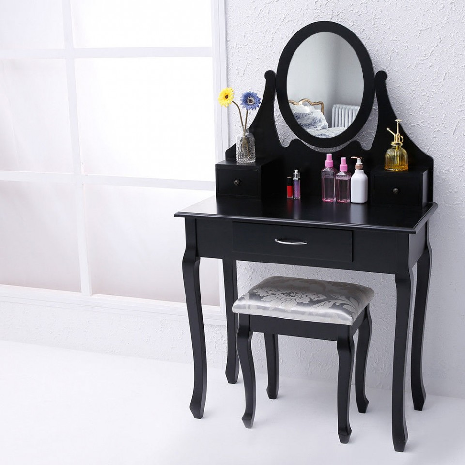 Masa Machiaj Cosmetica Neagra Oglinda Scaun Imagine