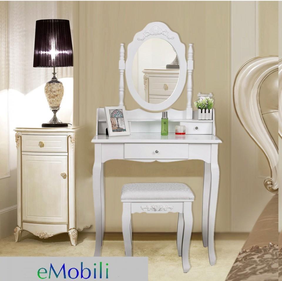Set Masa Toaleta Alba + Oglinda + Scaunel  Taburet