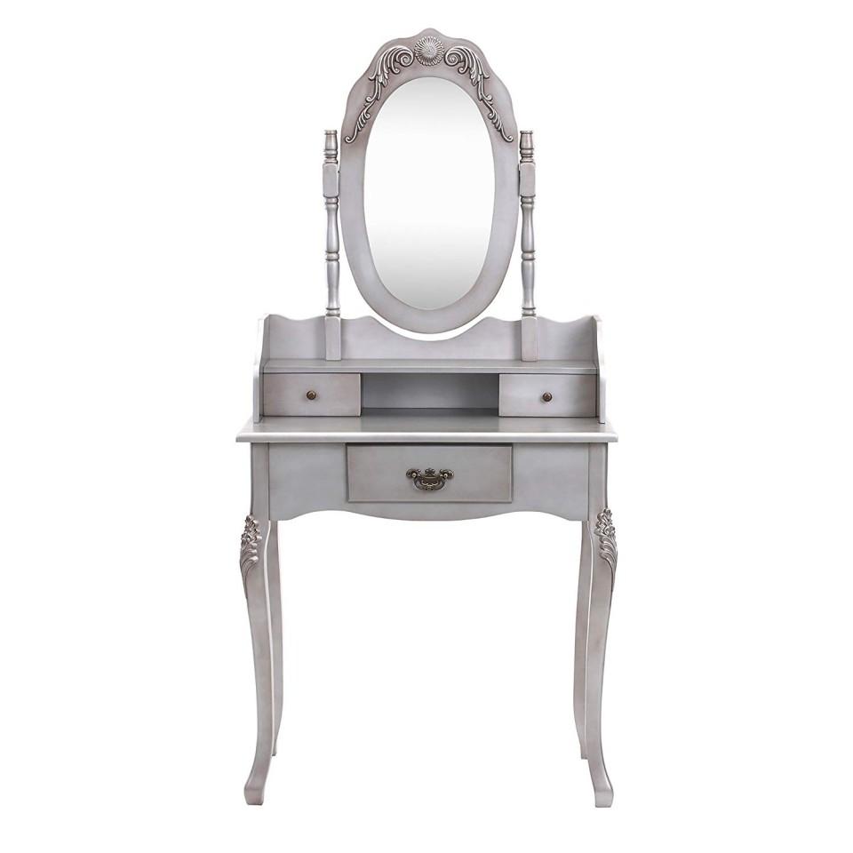 Foto Set Masa Argintie Toaleta Cosmetica Machiaj Oglinda Masuta