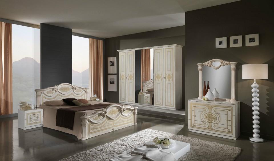 Colc101 - Colectie Set Dormitor Crem Lucios 6 Piese - Lux