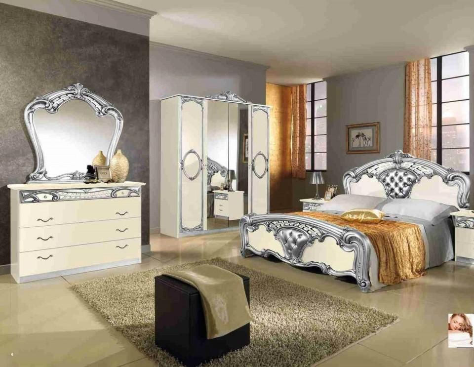 Colg101 - Colectie Set Dormitor Crem Lucios Si Argintiu 6 Piese - Lux