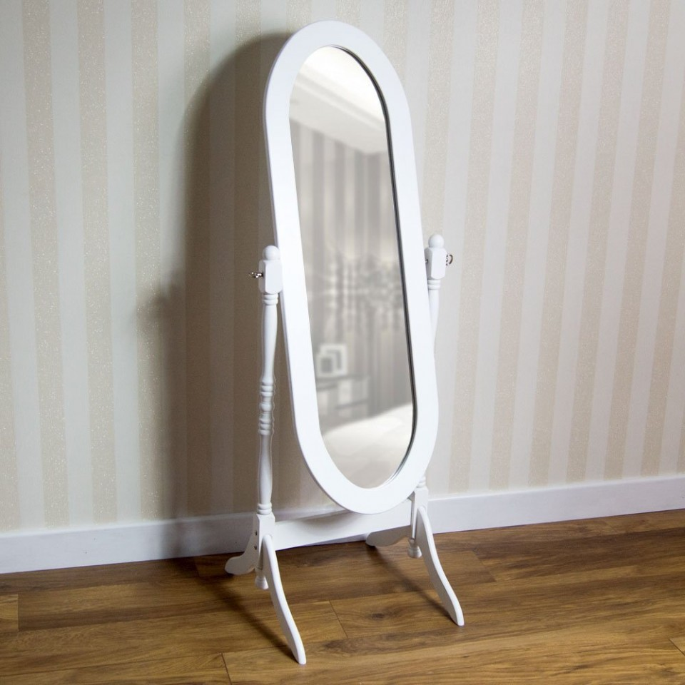 Oglinda Alba Ovala Dormitor Poza