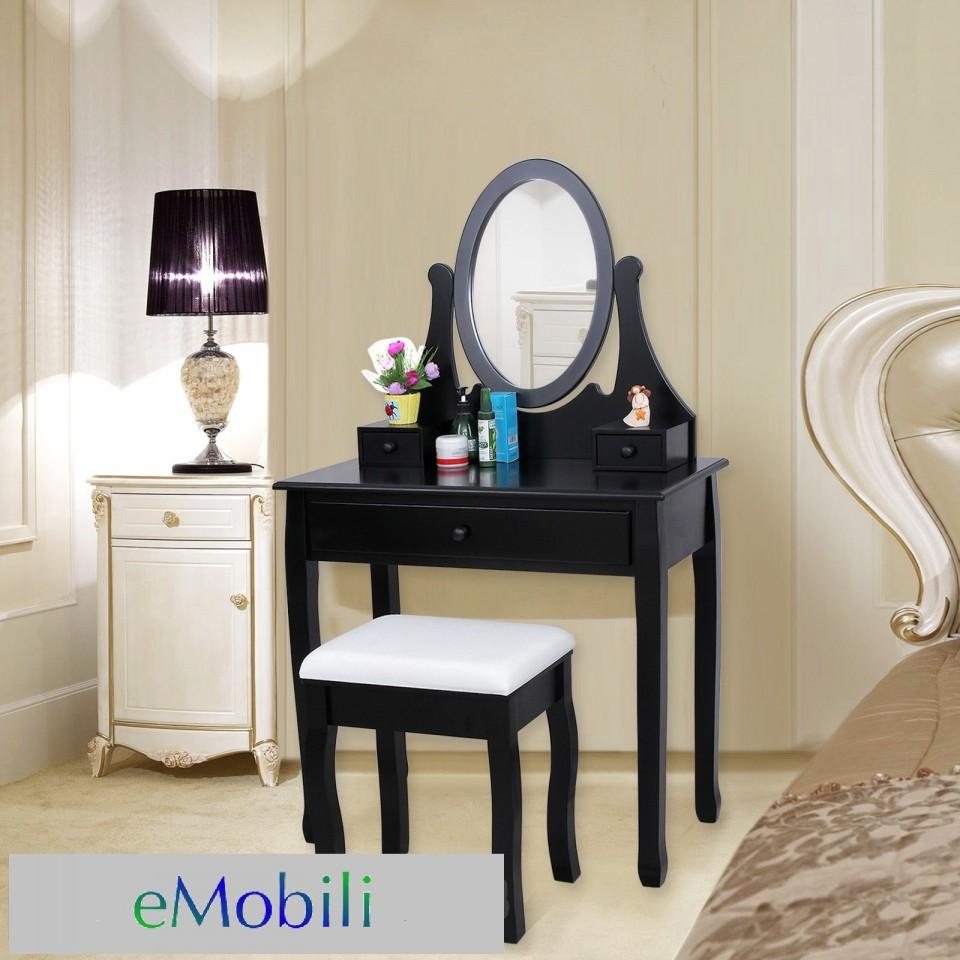 SEN101 – Set Masa neagra toaleta cosmetica machiaj oglinda masuta de la eMobili
