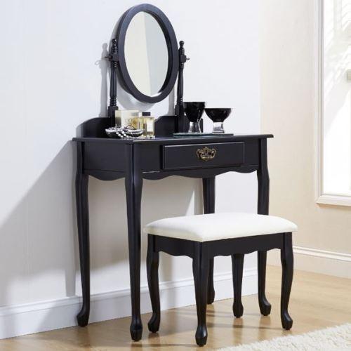 Masa Machiaj Cosmetica Neagra Oglinda Imagine