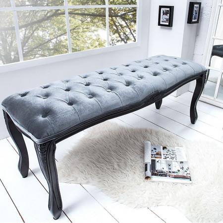 BAN226 - Bancuta 115 cm, banca pentru living, dormitor sau hol - Gri (argintiu) cu picioare negre sau Negru