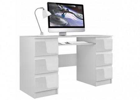 BIA501 - Birou 130 cm, masa office cu sertare - Alb mat sau lucios