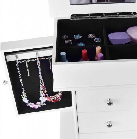 CJA207 - Cutie, caseta bijuterii inata cu oglinda, depozitare - Alb