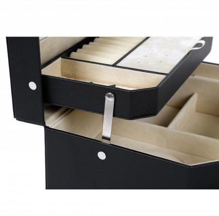CJN207 - Cutie cutiuta bijuterii cu oglinda, imitatie piele - Negru