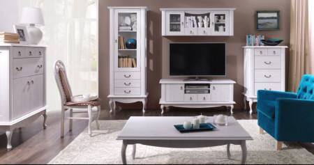 COG501 - Comoda TV, televizor cu dulapuri, sertare si raft - Gri deschis
