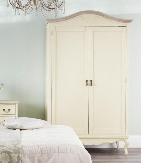 DUC107 - Dulap crem, sifonier dormitor dublu cu bara pentru umerase, manere metalice - Colectia Genova